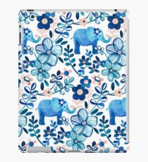 Blush Pink, White and Blue Elephant and Floral Watercolor Pattern iPad Case/Skin