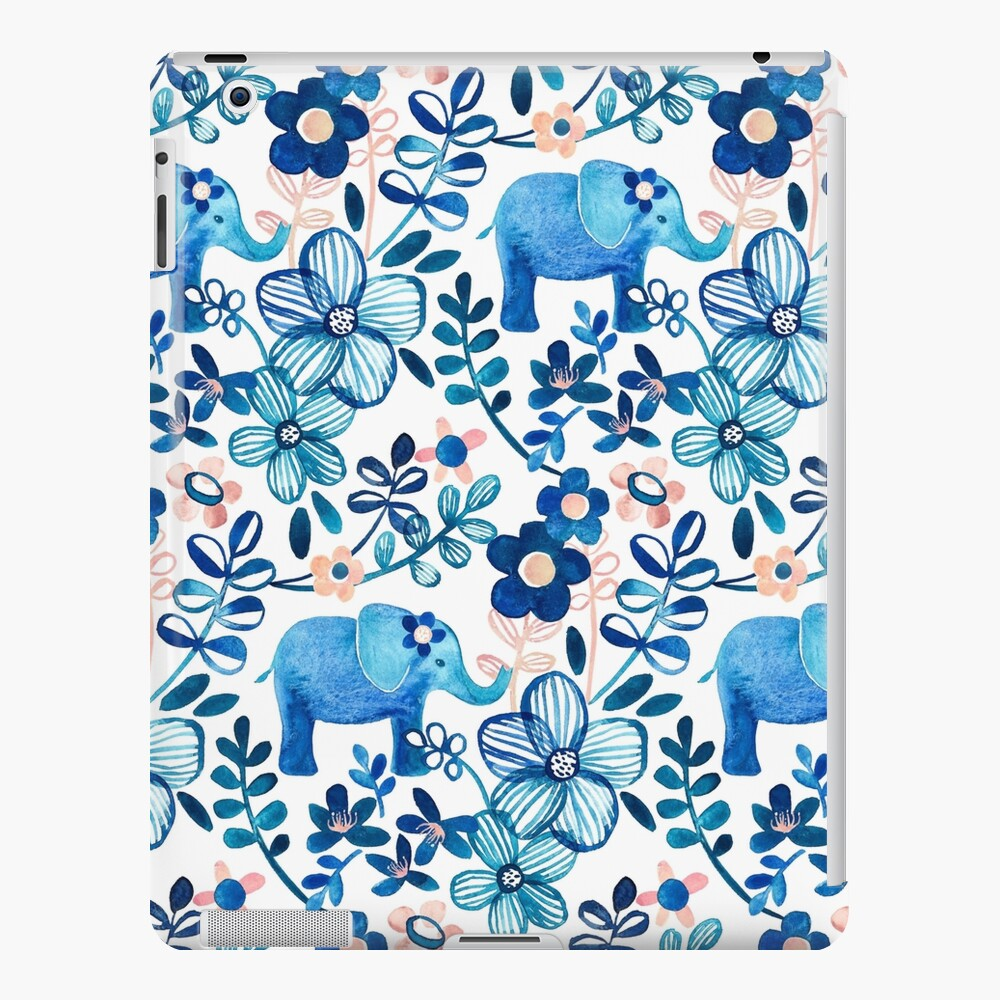 Blush Pink, White and Blue Elephant and Floral Watercolor Pattern iPad Case & Skin