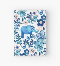 Cuaderno de tapa dura Blush rosa, blanco y azul elefante y patrón floral de la acuarela