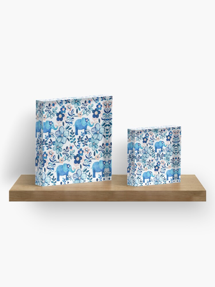 Alternate view of Blush Pink, White and Blue Elephant and Floral Watercolor Pattern Acrylic Block