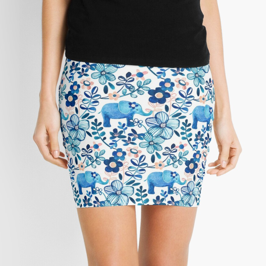 Blush Pink, White and Blue Elephant and Floral Watercolor Pattern Mini Skirt