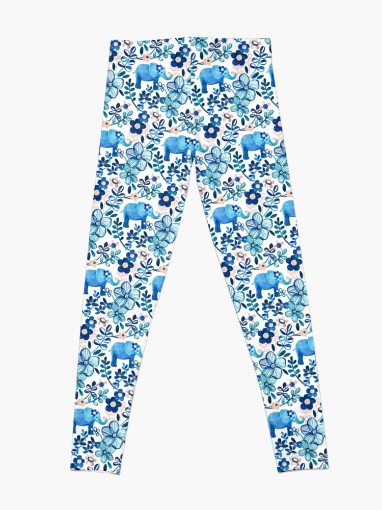 Alternate view of Blush Pink, White and Blue Elephant and Floral Watercolor Pattern Leggings