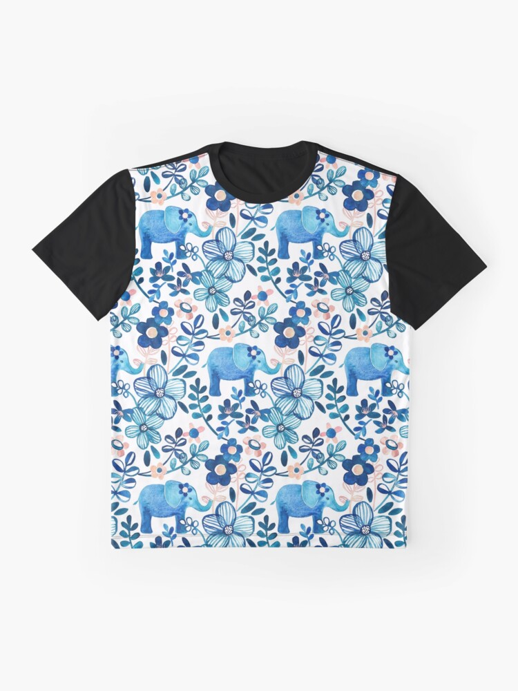 Alternate view of Blush Pink, White and Blue Elephant and Floral Watercolor Pattern Graphic T-Shirt
