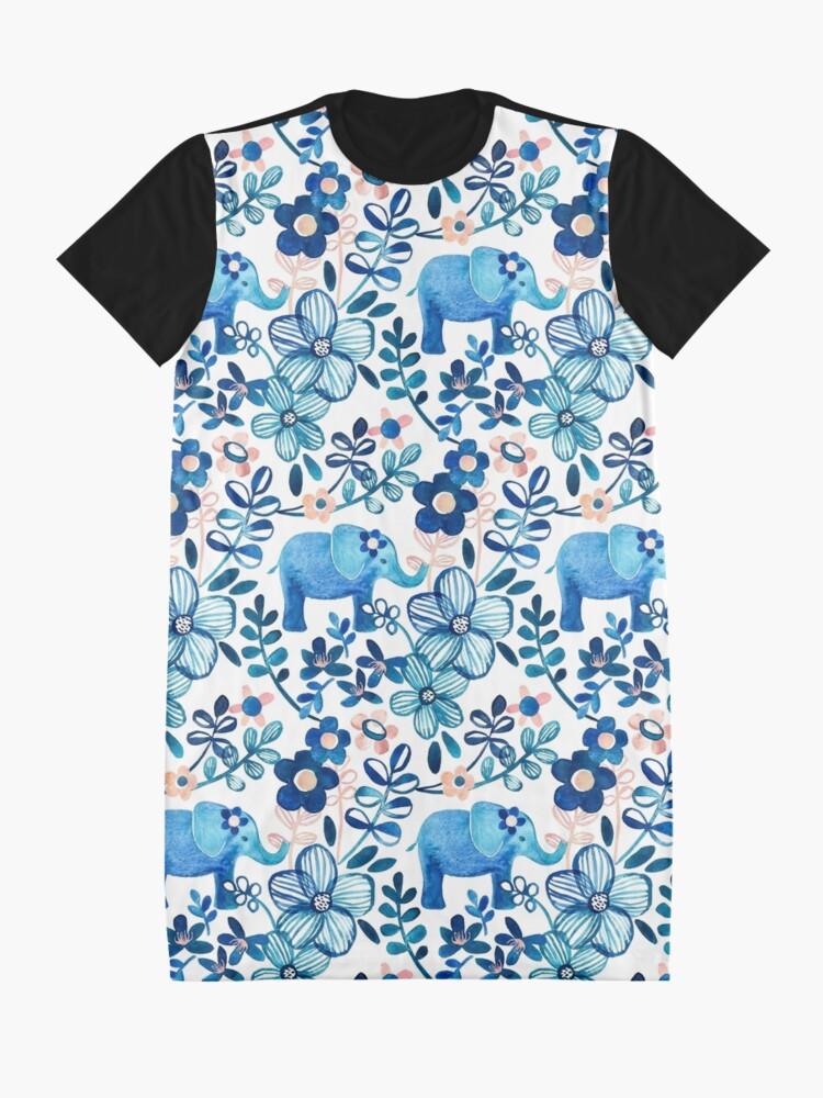 Alternative Ansicht von Rosa, weißer und blauer Elefant und Blumenaquarell-Muster erröten T-Shirt Kleid