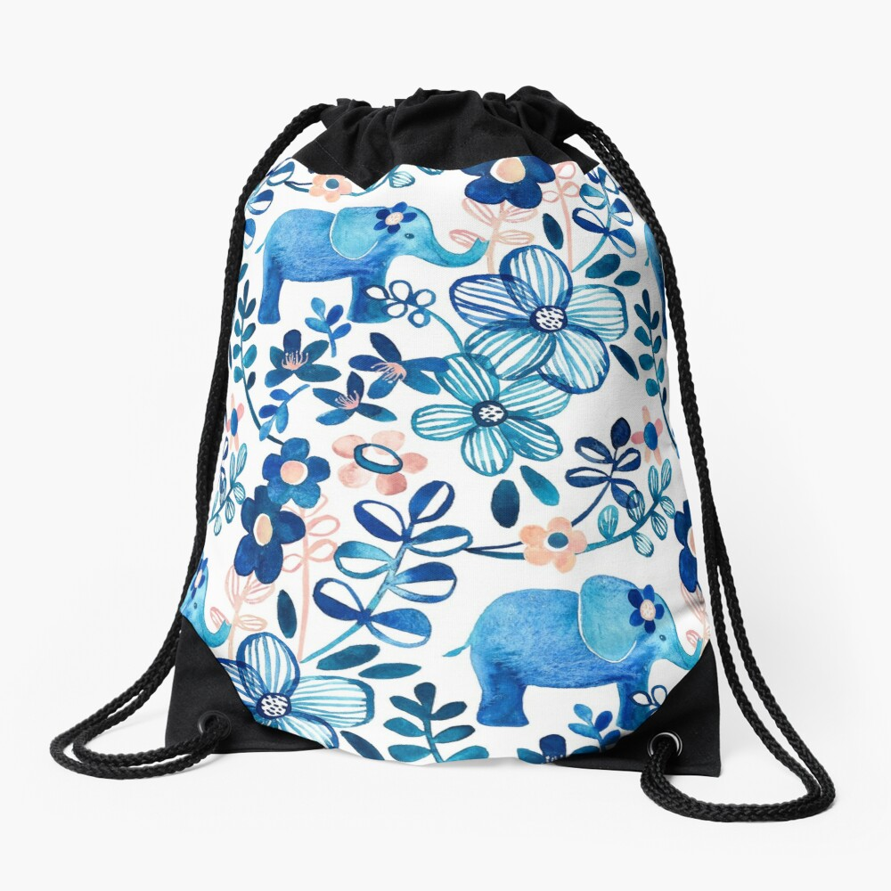 Blush Pink, White and Blue Elephant and Floral Watercolor Pattern Drawstring Bag