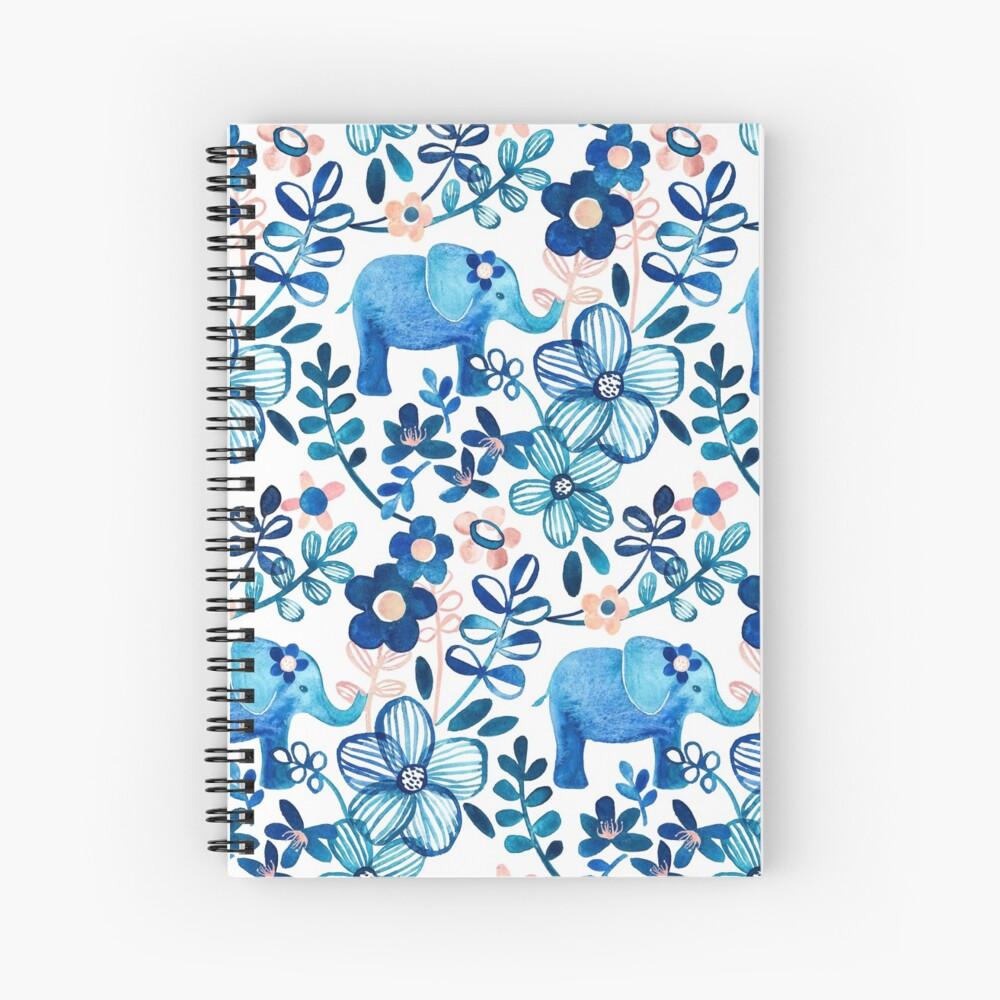 Rosa, weißer und blauer Elefant und Blumenaquarell-Muster erröten Spiralblock