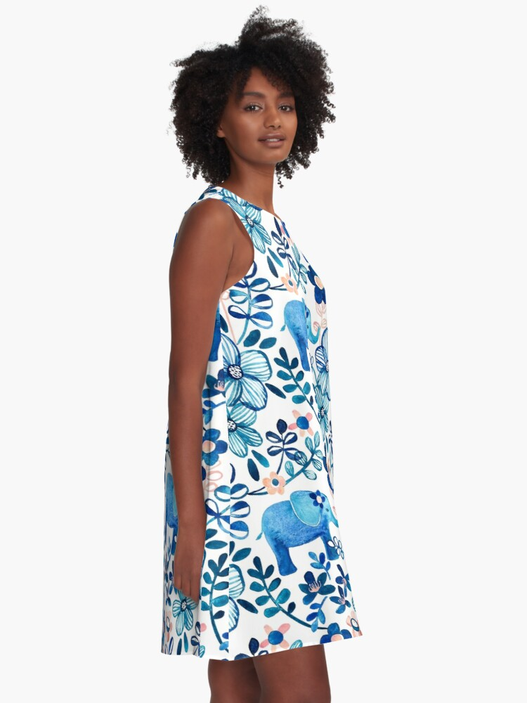 Alternate view of Blush Pink, White and Blue Elephant and Floral Watercolor Pattern A-Line Dress