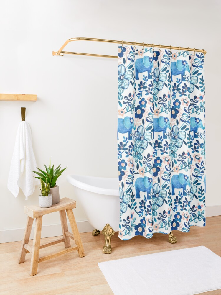 Alternate view of Blush Pink, White and Blue Elephant and Floral Watercolor Pattern Shower Curtain