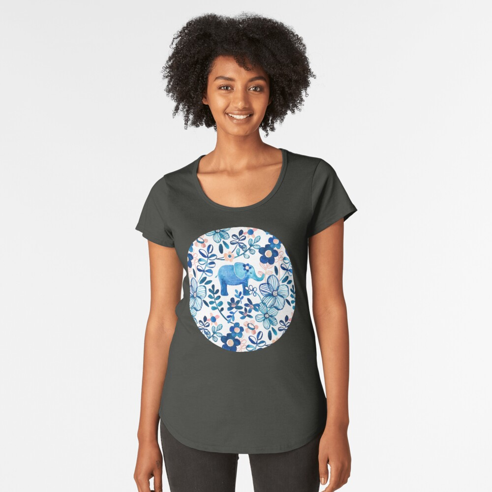 Blush Pink, White and Blue Elephant and Floral Watercolor Pattern Premium Scoop T-Shirt