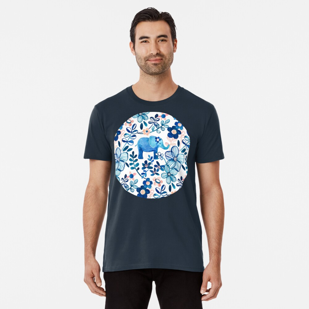 Blush Pink, White and Blue Elephant and Floral Watercolor Pattern Premium T-Shirt