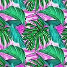 Seamless Decorative Tropical Monstera Palm Tree Pattern by isstgeschichte
