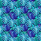 Seamless Painted Tropical Monstera Palm Tree Pattern by isstgeschichte
