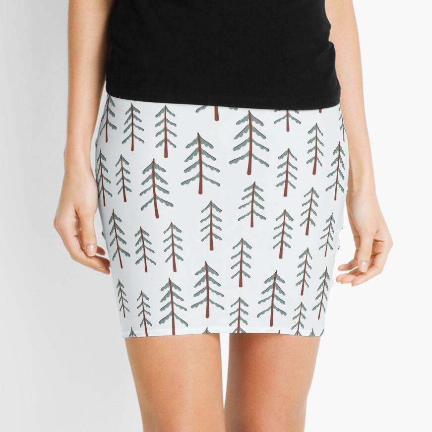 Fir tree doodle wood  Mini Skirt