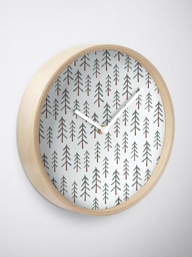 Alternate view of Fir tree doodle wood  Clock