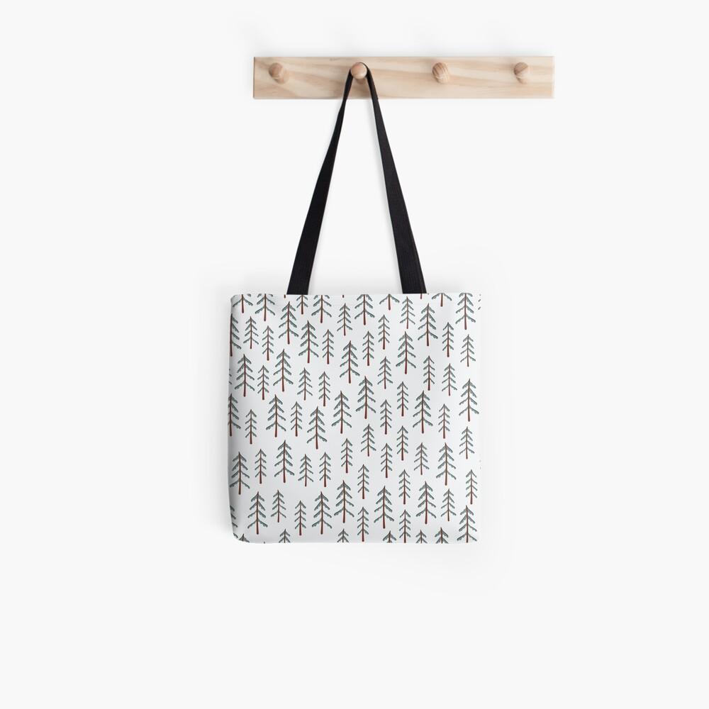 Fir tree doodle wood  Tote Bag