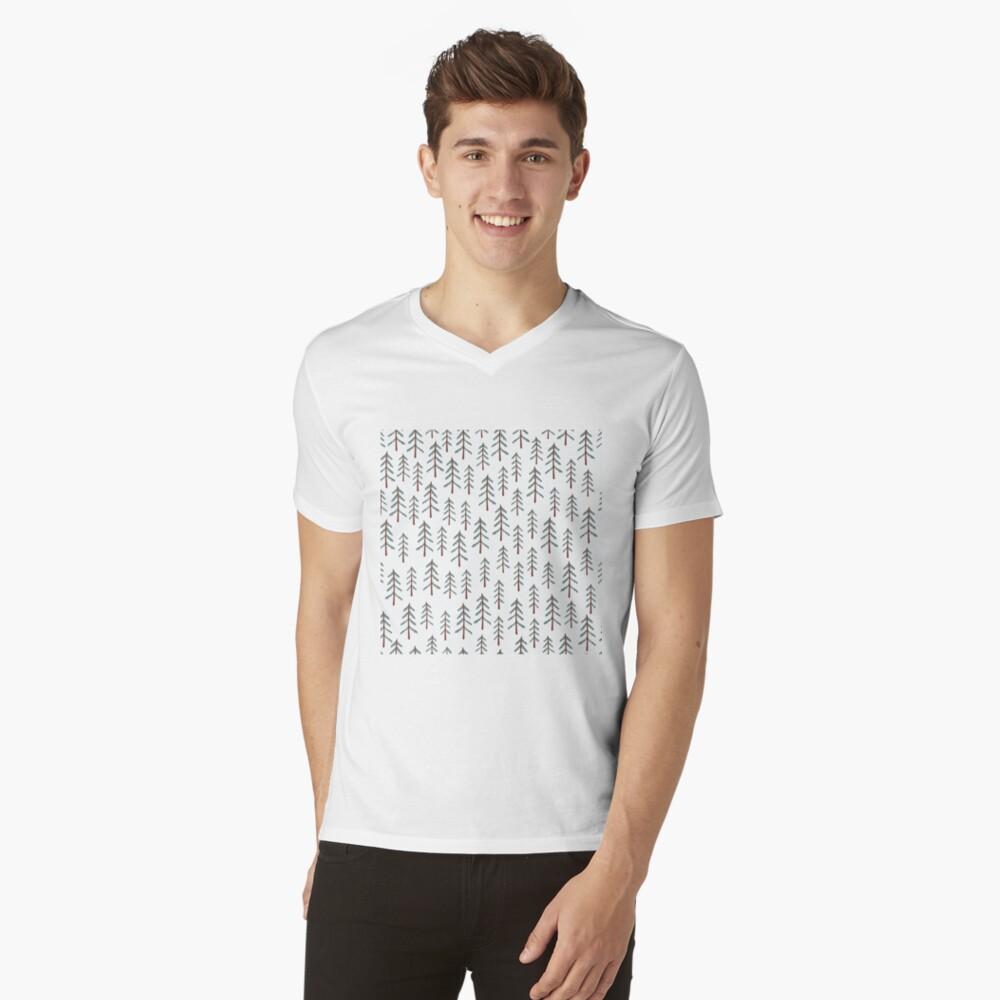 Fir tree doodle wood  V-Neck T-Shirt