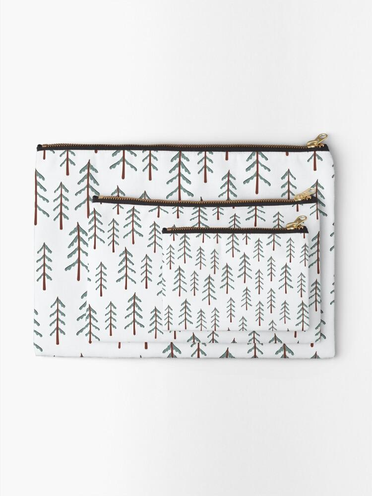 Alternate view of Fir tree doodle wood  Zipper Pouch
