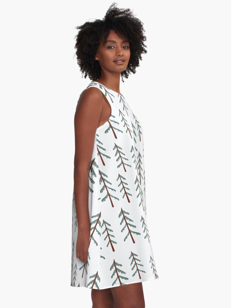 Alternate view of Fir tree doodle wood  A-Line Dress