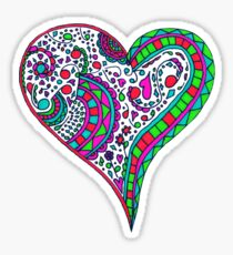 Henna Heart Vibrant Color Heart Mandala Sticker