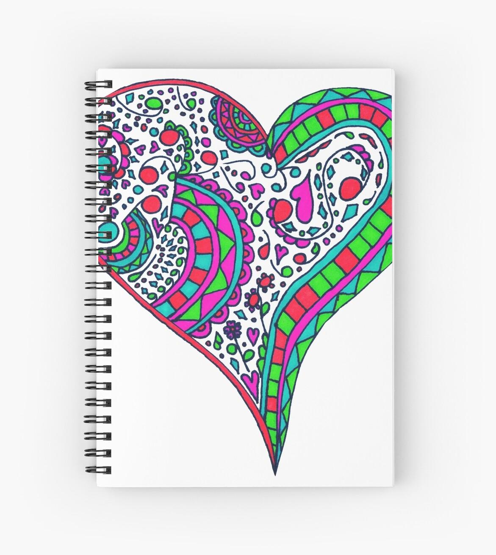 Cuadernos de espiral «Henna corazón vibrante color corazón Mandala ...