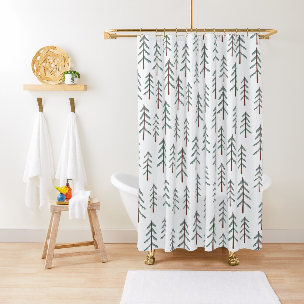 Fir tree doodle wood  Shower Curtain