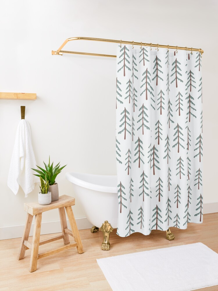 Alternate view of Fir tree doodle wood  Shower Curtain