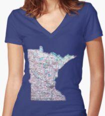 Minnesota Roadmap Fitted V-Neck T-Shirt