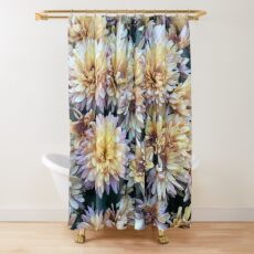 Gift for Gardener - Mumsified - Light Yellow and Pink Mums Shower Curtain