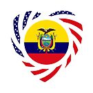 Ecuadorian American Multinational Patriot Flag Series (Heart) by Carbon-Fibre Media