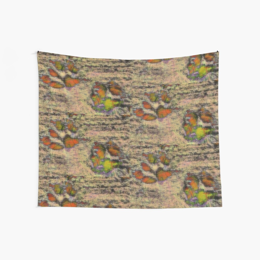 Paw Prints as Butterflies Wall Tapestry