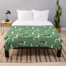 Husky Pattern (grüner Hintergrund) Fleecedecke