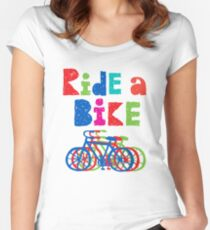 Ride a Bike sketchy - white T Women's Fitted Scoop T-Shirt