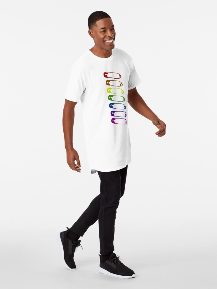 Alternate view of Safe with me rainbow safety pins Long T-Shirt