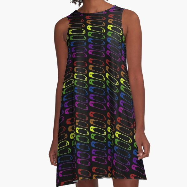 Safe with me rainbow safety pin A-Line Dress