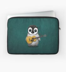Musical Baby Penguin Playing Guitar Teal Blue Laptop Sleeve
