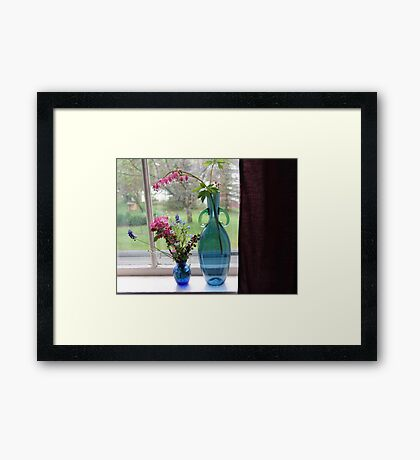 Bouquets in Blue Vases Framed Print