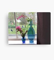 Bouquets in Blue Vases Metal Print
