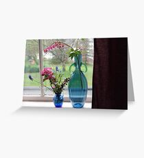 Bouquets in Blue Vases Greeting Card