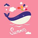 Summer Whale Cartoon Art  by scooterbaby