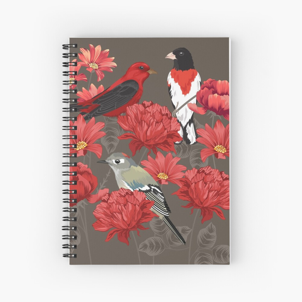 Birds and Roses Spiral Notebook