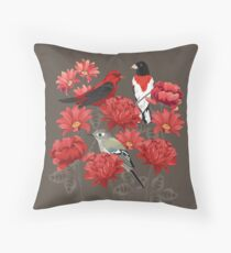 Birds and Roses Throw Pillow