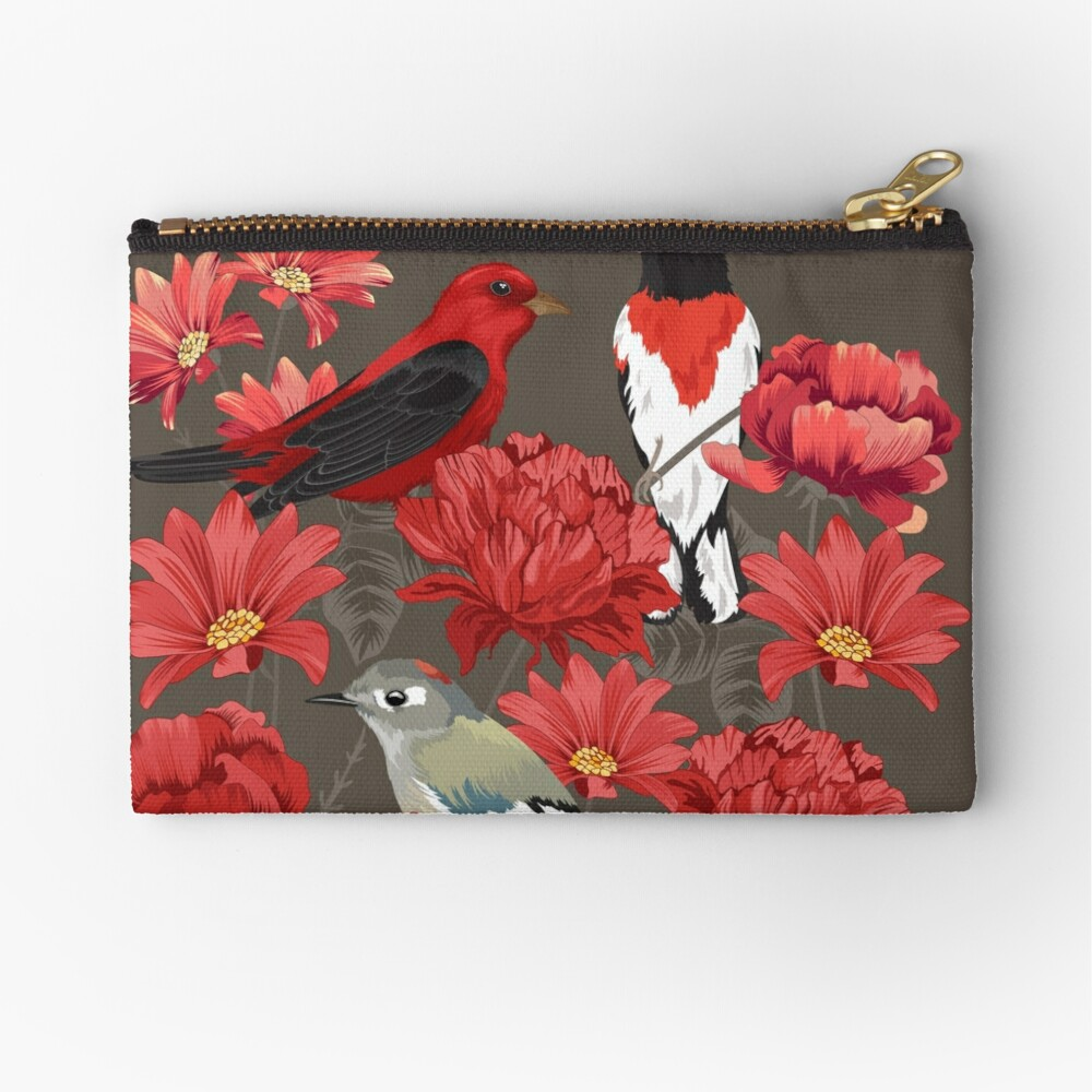 Birds and Roses Zipper Pouch