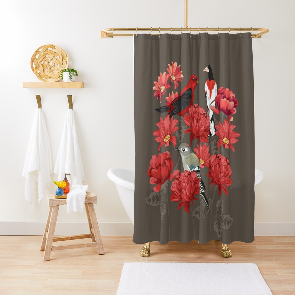 Birds and Roses Shower Curtain