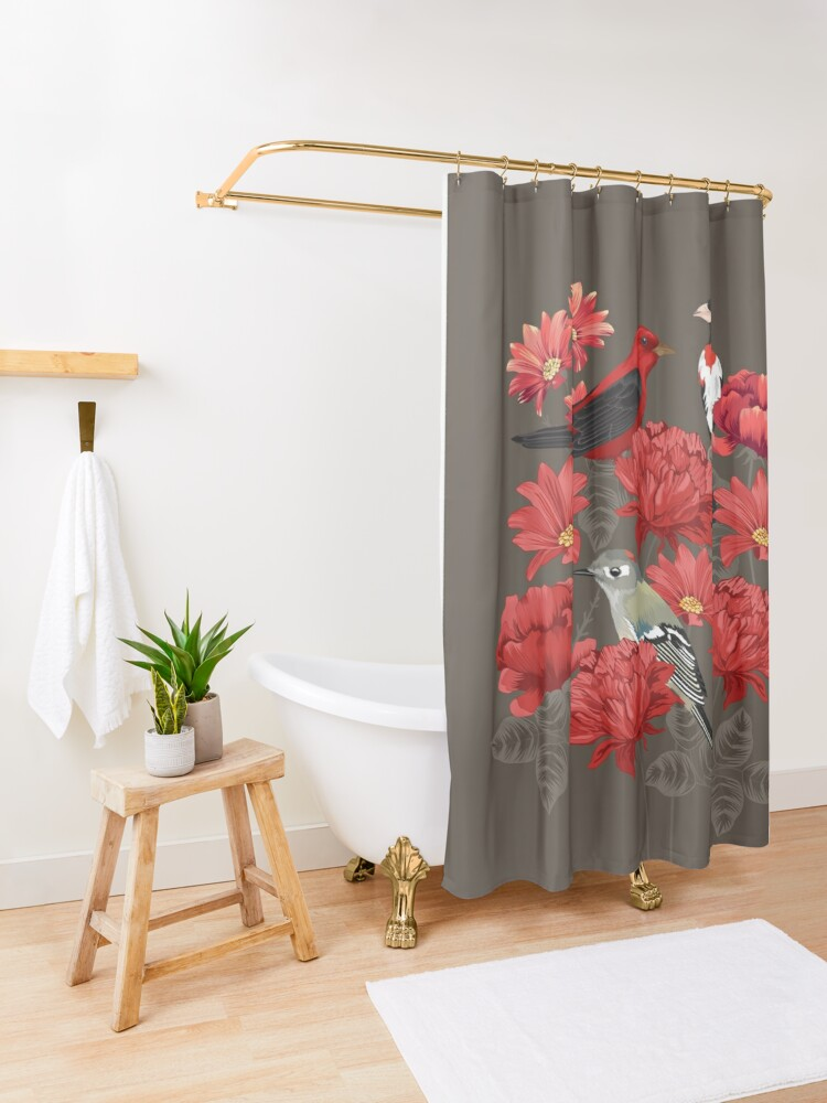 Alternate view of Birds and Roses Shower Curtain