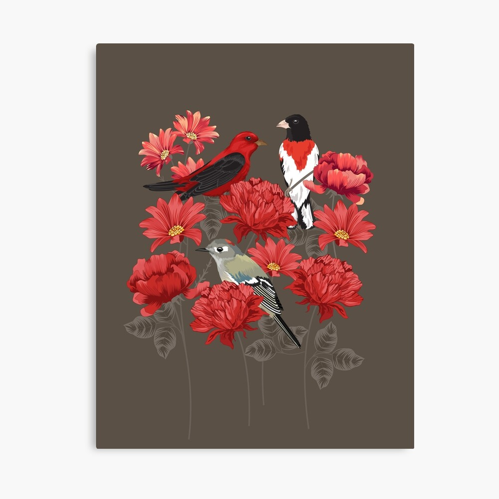 Birds and Roses Canvas Print