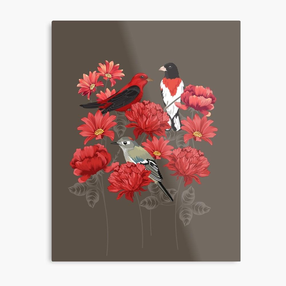 Birds and Roses Metal Print