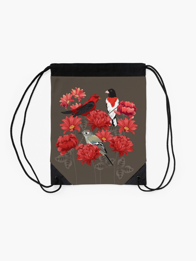 Alternate view of Birds and Roses Drawstring Bag