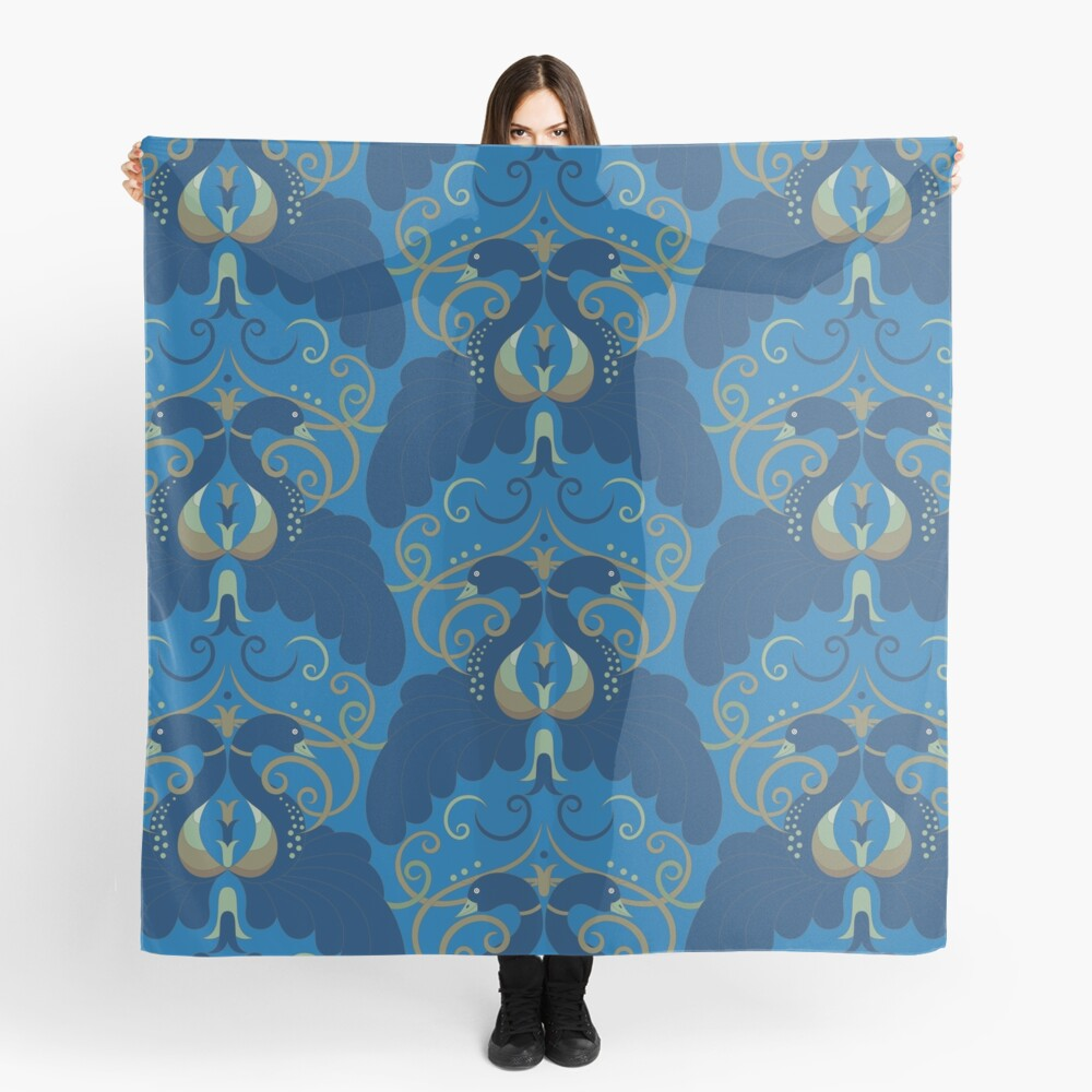 Peacock in Blue Scarf