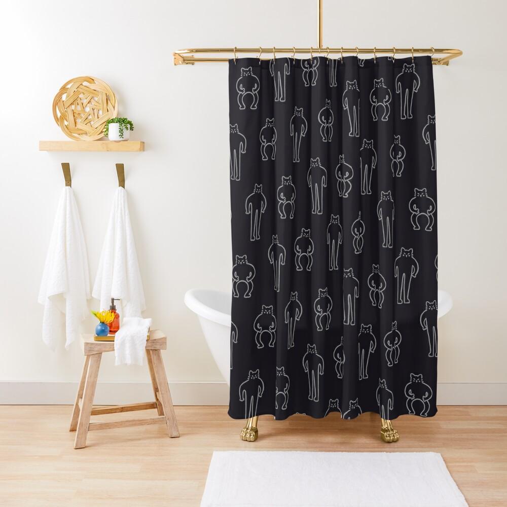 Flexing & Squating Cat - Black Shower Curtain