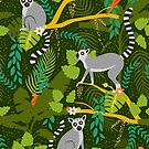 Lemurs in a Green Jungle by latheandquill